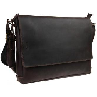 Мужская кожаная коричневая горизонтальная сумка формата А4 71547
