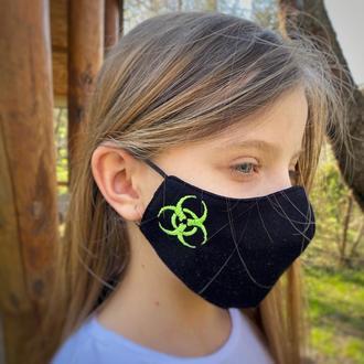 Маска  «Danger» черная детская 8-12 лет