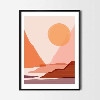 Графический постер Горы и солнце
