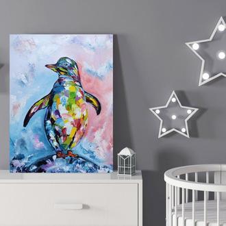 """Картина маслом """"Райдужний пінгвін"""" 30×40 см, Інтер'єрна картина, Картина мастихіном"""