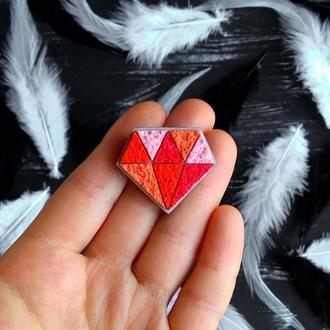 Геометрична пориста брошка Діамант. Пористая полигональная брошь Бриллиант (любой цвет на заказ)