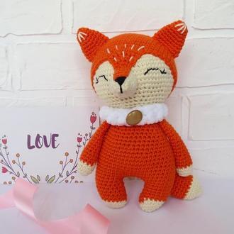 Мягкая игрушка лисичка, вязаные животные, подарок для новорожденного, подарок девочке