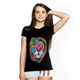 """Женская футболка с росписью """"Lion Flowers"""""""