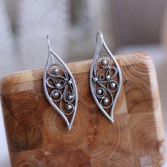 Филигранные серьги, серебро