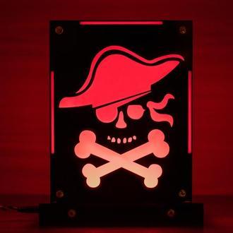 Декоративный ночник Пират, теневой светильник, подарок мальчику, несколько подсветок