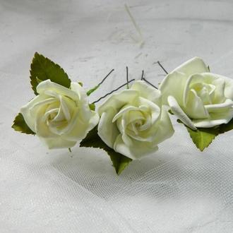 "Шпильки с розами ""Айвори"""