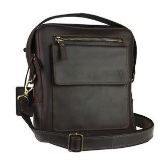 Кожаная коричневая мужская сумка на плечо - барсетка 734105S