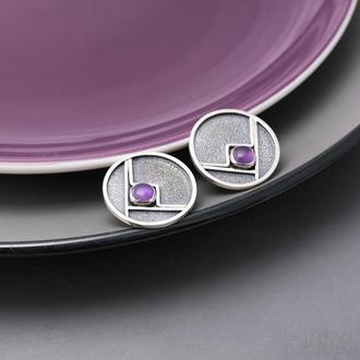 Круглые серебряные серьги с аметистами