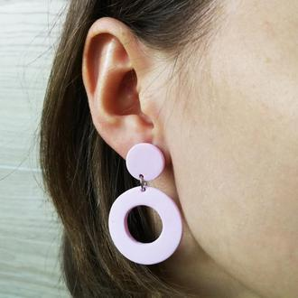Розовые, круглые сережки из полимерной глины.
