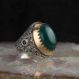 Серебряная мужская печатка с натуральным камнем Зеленый Агат