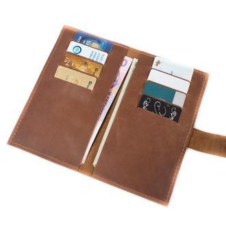 Кожаный бумажник ручной работы. 08002/коньяк