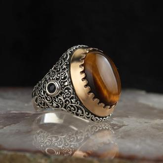Серебряная мужская печатка с натуральным камнем Тигровый глаз
