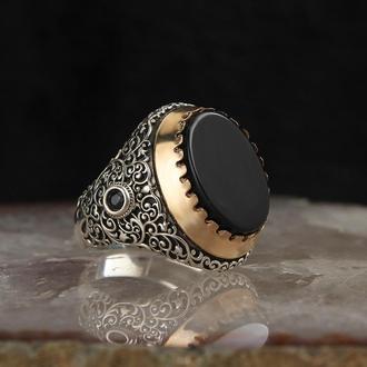 Серебряное мужское кольцо 925 пробы с узором Натуральный камень Оникс