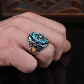 Серебряное мужское кольцо Натуральный камень Бирюза