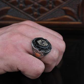 Серебряное мужское кольцо Оникс