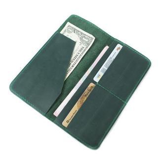Длинный кошелек из натуральной кожи. 08003/зеленый