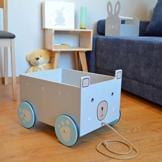 Ящик мишка, на колесах. WoodAsFun