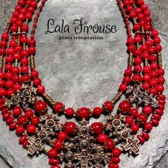 """Традиционно украинское ожерелье со згардами из натуральных красных кораллов  """"Велике свято"""""""