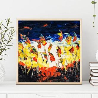 Колоски (картина масло/оргалит) 20х20 см