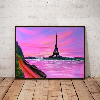 Париж в закате (живопись масло/холст) 50х70х2 см