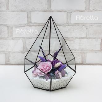 """""""Аметист"""" - флорариум из живых цветов, неувядающий более 3 лет, размер М"""