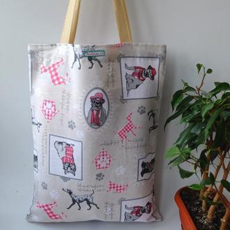 Эко сумка для покупок с собаками, сумка пакет, эко торба, сумка шоппер 51
