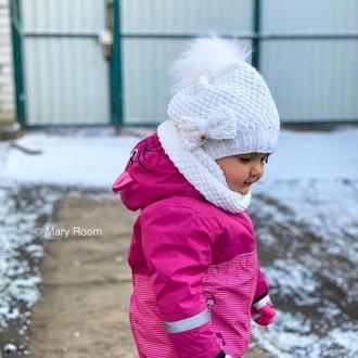 Детская вязаная шапка со снудом