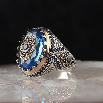 Серебряный мужской перстень с натуральным синим камнем