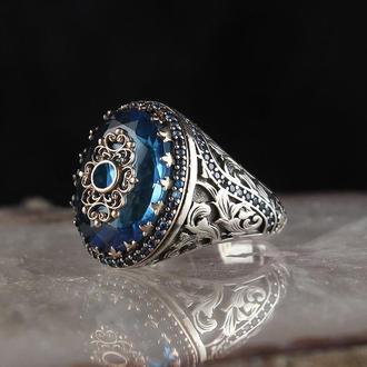 Серебряный мужской перстень с камнем Аква Морская волна