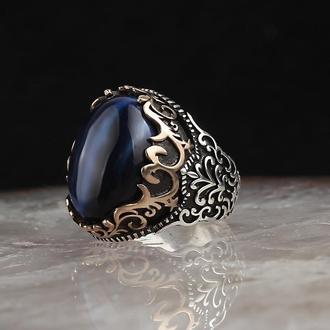 Серебряное кольцо с натуральным синим тигровым камнем