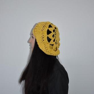 Берет ажурный Легкая летняя шапочка Берет вязаный крючком Берет горчичного цвета