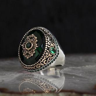 Печатка из серебра 925 пробы с зеленым камнем циркония