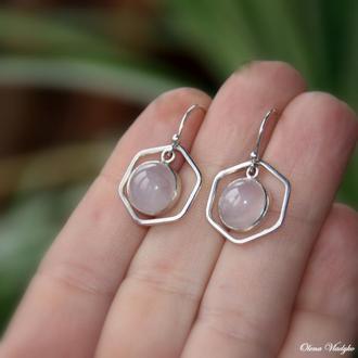 Серебряные серьги с розовым кварцем, серебряные серьги с натуральным камнями, подарок
