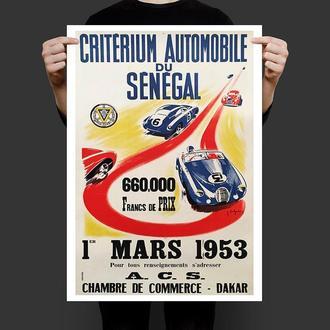 Винтажный постер Автогонки 1953 год реплика