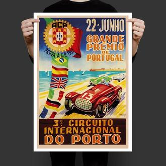 Ретро Постер Автомобильное Гран При Португалия 1952 год
