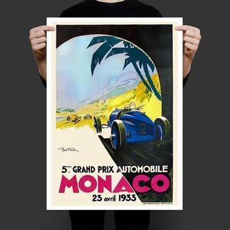 Ретро постер реплика Автомобильное Гран При Монако 1933 год