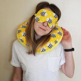 Комплект подушка для путешествий + маска для сна листва Киев, дорожная подушка Львов