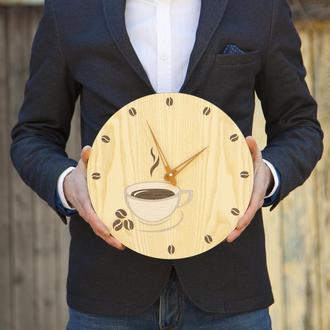 """Настенные Деревянные Часы """"Кофе Тайм"""". Техника Маркетри"""