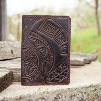 Обкладинка на паспорт шкіряна чоловіча темно-коричнева