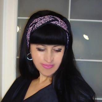 Вязаная повязка на голову чалма - Магнолия