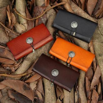 Авторский кожаный кошелек, Дзайнерское портмоне ручной работы из кожи, Ручная роспись, Тиснение
