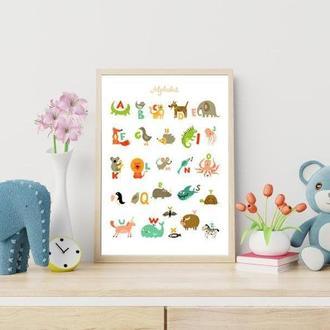 Постер в детскую комнату Английский алфавит Животные