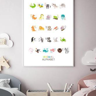 Плакат Английский алфавит Животные