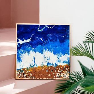 Морской берег смола (эпоксидная смола/оргалит) 50х50 см