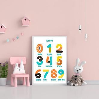 Постер в детскую комнату Цифры на украинском языке