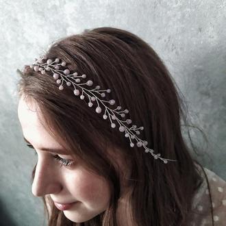 Сиреневый венок для волос