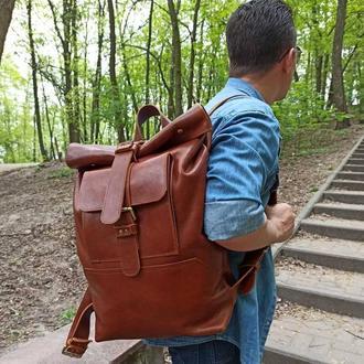 Мужской кожаный рюкзак XXL (глянец)