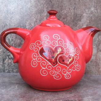 """Чайник Крапля, декор """"Серце"""" червоний"""