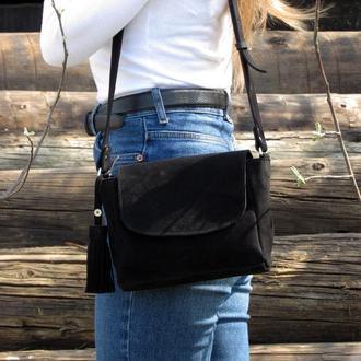 Женская сумочка из натурального замшу