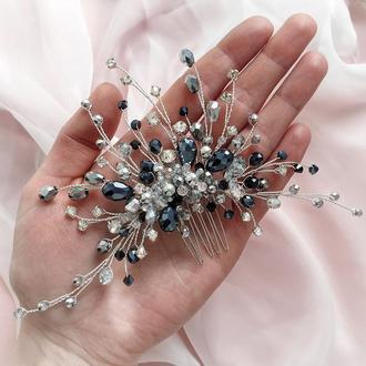 Свадебное украшение для волос, гребешок в прическу, черное украшения в прическу, украшения в волосы